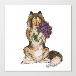 Collie with Flowers Canvas Print