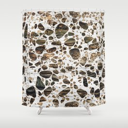 Terrazzo - Mosaic - Wooden texture and gold #4 Shower Curtain