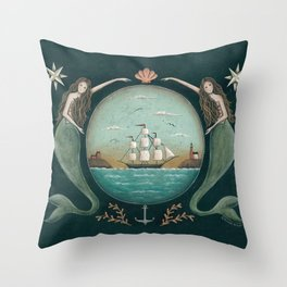 Sirens of the Sea by Donna Atkins Throw Pillow