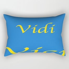 Veni Vidi Vici Blue and Gold Rectangular Pillow