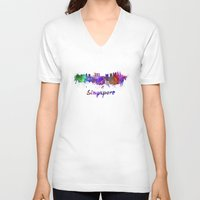 singapore V-neck T-shirts featuring Singapore skyline in watercolor by Paulrommer