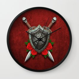 Shield with Chinese Dragon, Roses and Crossed Swords on Red Wall Clock