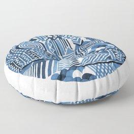 Circle Pattern Blue Floor Pillow