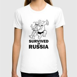 """""""I Survived in Russia"""" Funny Monochrome Sticker with Cartoon Hangover Tourist and Bear T-shirt"""