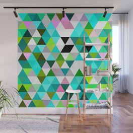 Chic Bright Pink Turquoise Lime Green Colors Funky Retro Triangles Mosaic Pattern Wall Mural