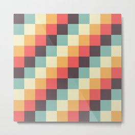 When dad was young - Pixel pattern in muted pastel colors Metal Print