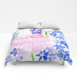 Peonies and Delphiniums Comforters