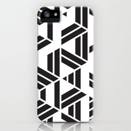 Black and White Hexagon Geometric Pattern iPhone Case