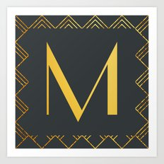Art Deco Monogram - M Art Print
