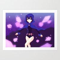 teen titans Art Prints featuring [Teen Titans] Raven by samarasketch