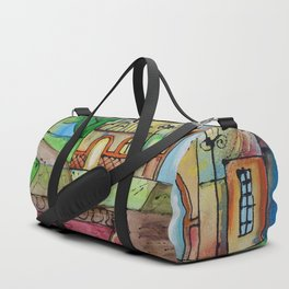 Landscape Painting Fairy town Acrylic S14 Contemporary Nursery Cityscape art for baby children kids Duffle Bag