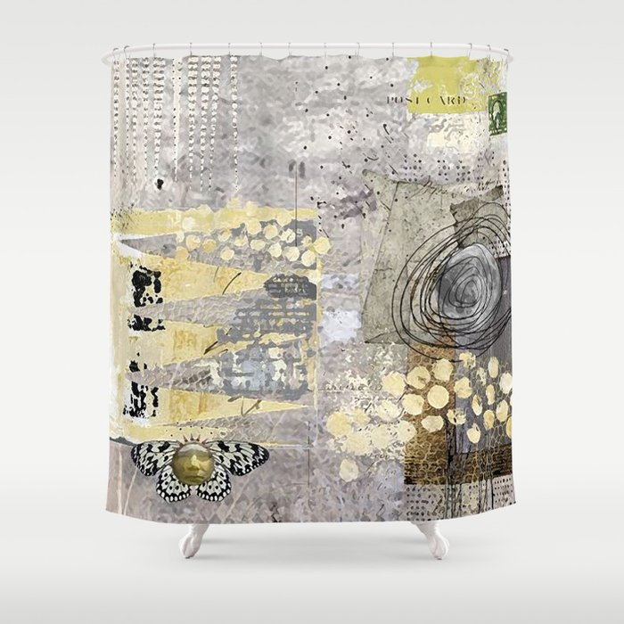 Grey Day Abstract Art Collage Shower Curtain