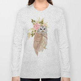 Owl with flower crown Long Sleeve T-shirt