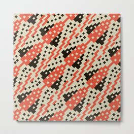 Chocktaw Geometric Square Cutout Pattern - Iron Oxide Metal Print
