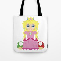princess peach Tote Bags featuring Princess Peach by Xiao Twins