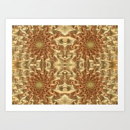 Swirls of Gold Metallic Leaves Fractal Abstract Art Print