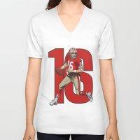 nfl V-neck T-shirts featuring NFL Legends: Joe montana 49ers by Akyanyme
