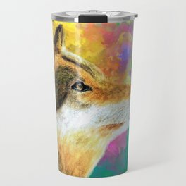 Watercolor Wolf Abstract (Color) Travel Mug