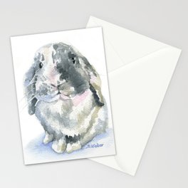 Gray and White Lop Rabbit Stationery Cards