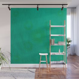 Pata Pattern in Green on Cyan Wall Mural