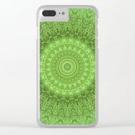 Sunflower Feather Bohemian Leaf Pattern \\ Aesthetic Vintage \\ Green Teal Aqua Color Scheme Clear iPhone Case