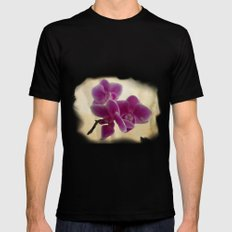 Orchids Black Mens Fitted Tee MEDIUM
