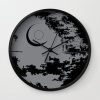 death star Wall Clocks featuring Death Star by Krakenspirit