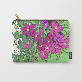 Swirling vines of Clematis in shades of pink and green Carry-All Pouch