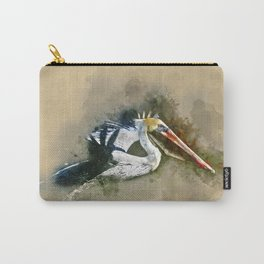 Watercolor Brown Pelican Carry-All Pouch