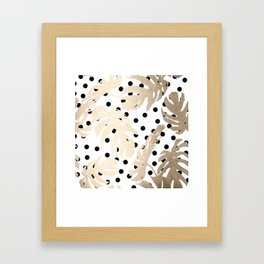 Simply Tropical White Gold Sands Palm Leaves on Dots Framed Art Print