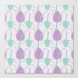 Purple and Green Fuller's Teasels Pattern Canvas Print