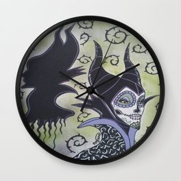 Maleficent Sugar Skull Wall Clock