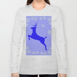 DECORATIVE LEAPING CHRISTMAS  BLUE DEER & SNOWFLAKES Long Sleeve T-shirt