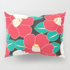 Japanese Style Camellia - Red and Black Pillow Sham