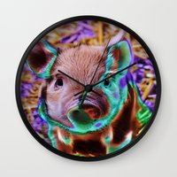 piglet Wall Clocks featuring Funky Piglet by MehrFarbeimLeben