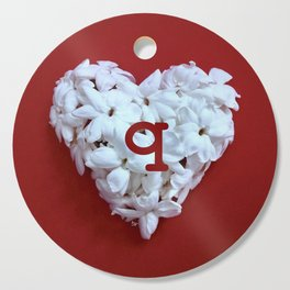 Red Monogrammed Heart Q Cutting Board