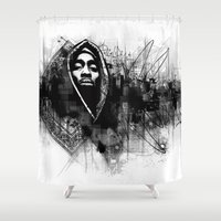 2pac Shower Curtains featuring 2Pac Illustration by Skillmatik by Mr Skillmatik