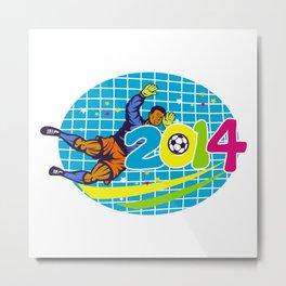 Brazil 2014 Goalie Football Player Retro Metal Print