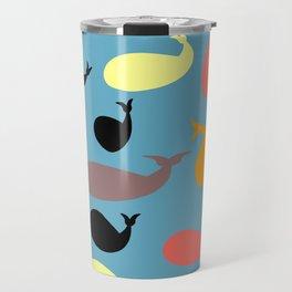 Colorful whales Travel Mug