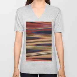 Abstract: Blue Red Beige Zigzag Unisex V-Neck