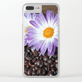 COFFEE with VIOLET DAISY Clear iPhone Case