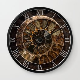 Earth treasures - Fossil in brown tones Wall Clock