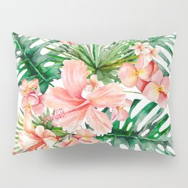 Tropical Jungle Hibiscus Flowers - Floral Pillow Sham