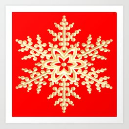 Snowflake in a Red Field Gift Art Print