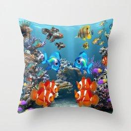 Aquarium Sealife Fish Throw Pillow