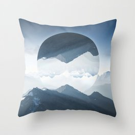 High mountain in morning time Throw Pillow