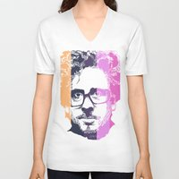 tim burton V-neck T-shirts featuring TIM BURTON IN COLORS by BURRO