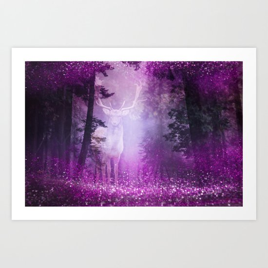 Fairy deer out of the woods mystic pink glitter forrest Art Print