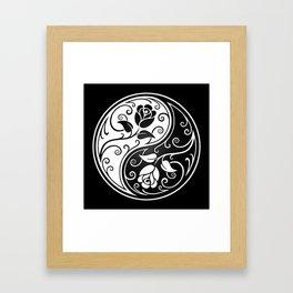 Black and White Yin Yang Roses Framed Art Print