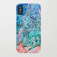 new york map iPhone & iPod Cases featuring new york new york map by Bekim ART